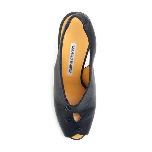 Button Slingback Black Pumps by Manolo Blahnik top