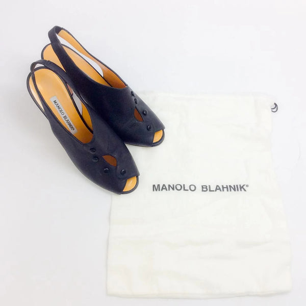 Button Slingback Black Pumps by Manolo Blahnik with dust bag