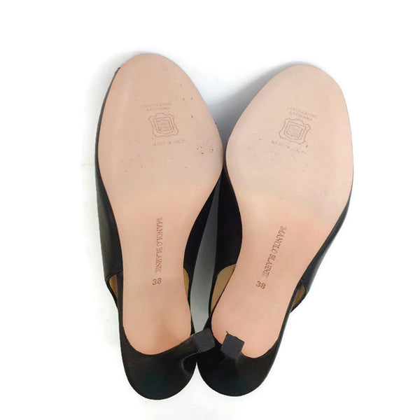 Button Slingback Black Pumps by Manolo Blahnik soles