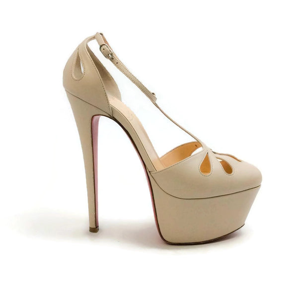Amyada Nude Platforms by Christian Louboutin outside