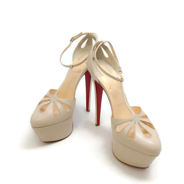 Amyada Nude Platforms by Christian Louboutin pair