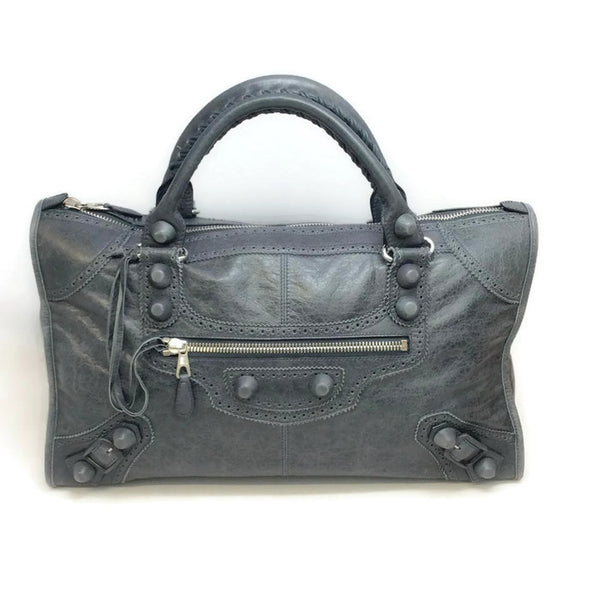 Large Moto Gray Satchel by Balenciaga