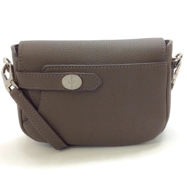Grained Leather Brown Cross Body Bag by Loro Piana