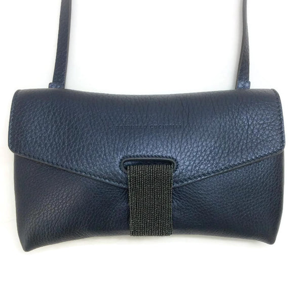 Leather Flap Molini-tab Navy Blue Cross Body Bag by Brunello Cucinelli