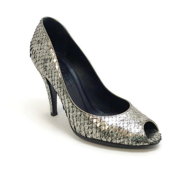 SIlver Snake Open Toe Pumps by Chanel