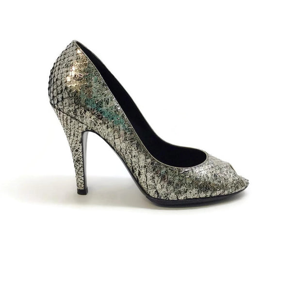 SIlver Snake Open Toe Pumps by Chanel outside