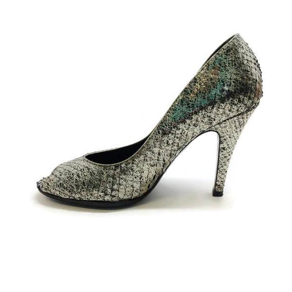 SIlver Snake Open Toe Pumps by Chanel inside
