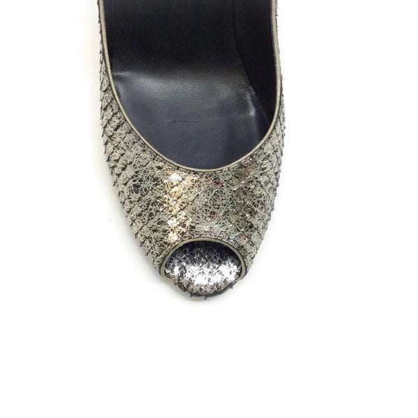SIlver Snake Open Toe Pumps by Chanel toe