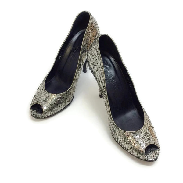SIlver Snake Open Toe Pumps by Chanel pair