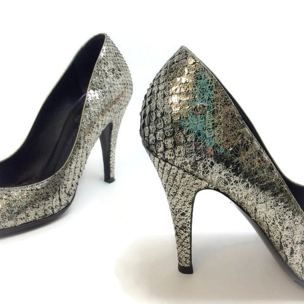 SIlver Snake Open Toe Pumps by Chanel alternate