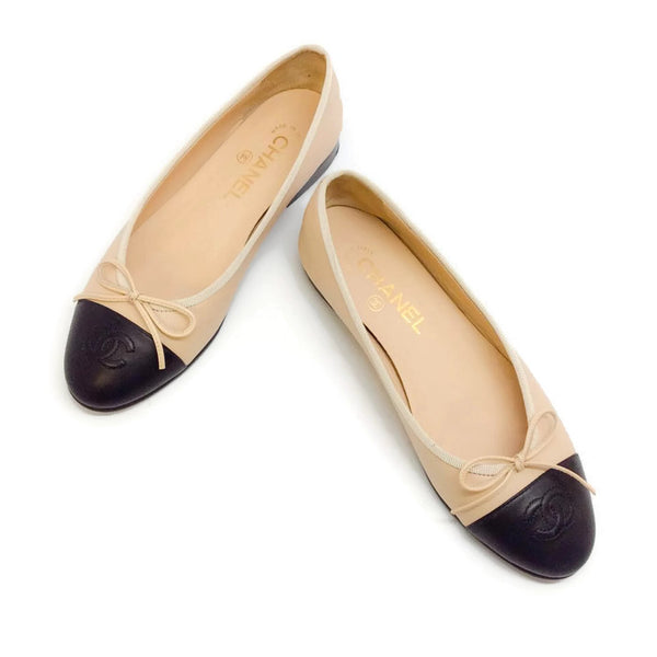 Classic Nude / Navy Ballet Flats by Chanel