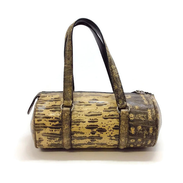 Lizard Barrel Yellow / Brown Satchel by Alaïa
