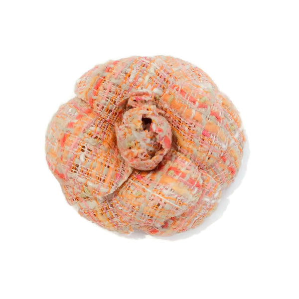 Early 1980's Tweed Camellia Brooch by Chanel