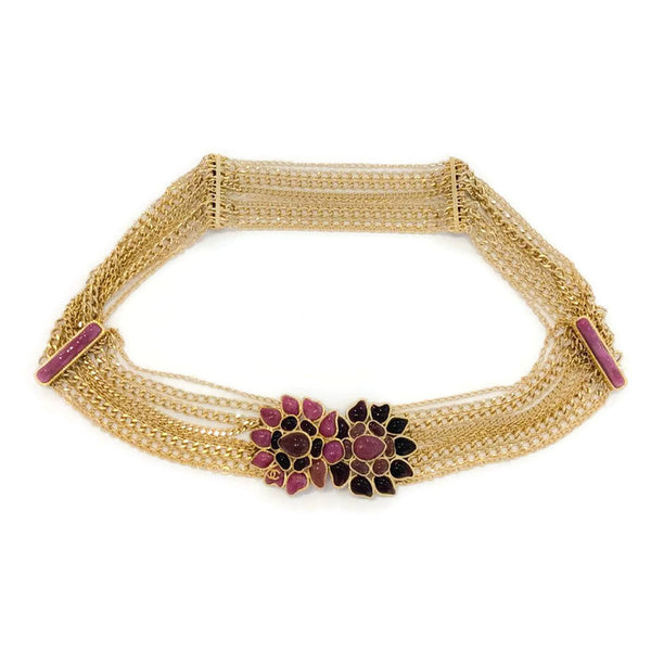 Muti Gold Tone Chain Belt with Gripoix Closure
