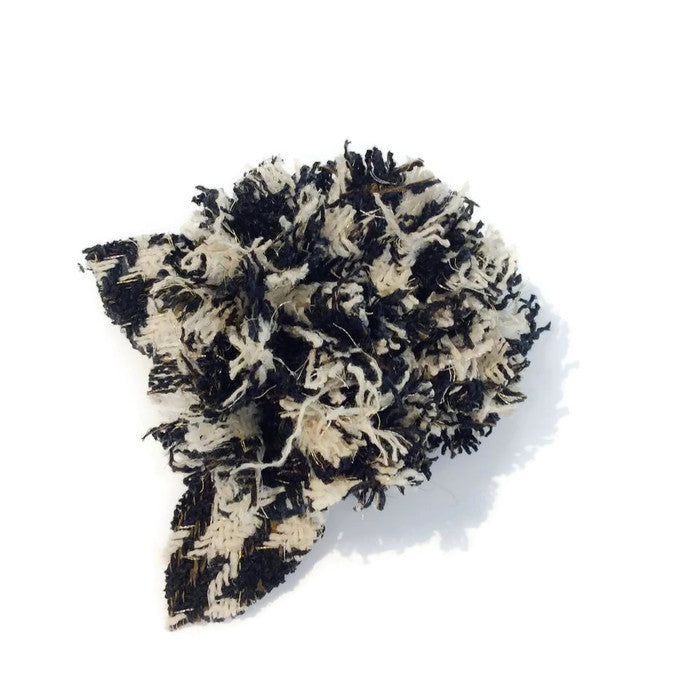 Tweed Camellia Black/Ivory Brooch by Chanel