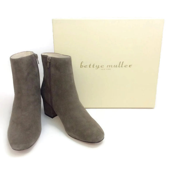 Candid Suede Dark Grey Boots by Bettye Muller box