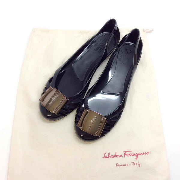 Black Bermuda Jelly Flats by Salvatore Ferragamo with dust bag
