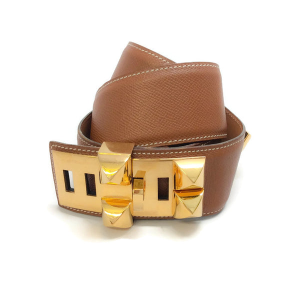 Gold Courchevel Leather Collier de Chein belt by Hermes