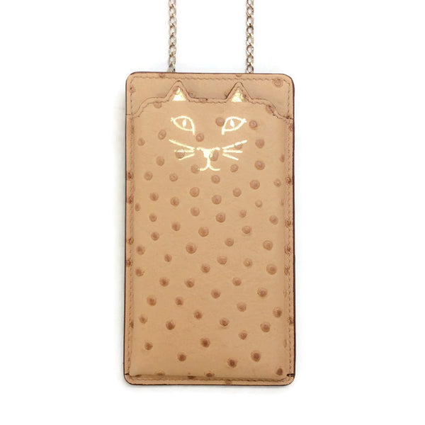 Ostrich Leather Feline iPhone 6 Bag by Charlotte Olympia