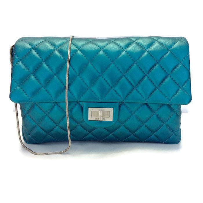 Limited Edition Turquoise Metalic Quilted Shoulder Bag by Chanel