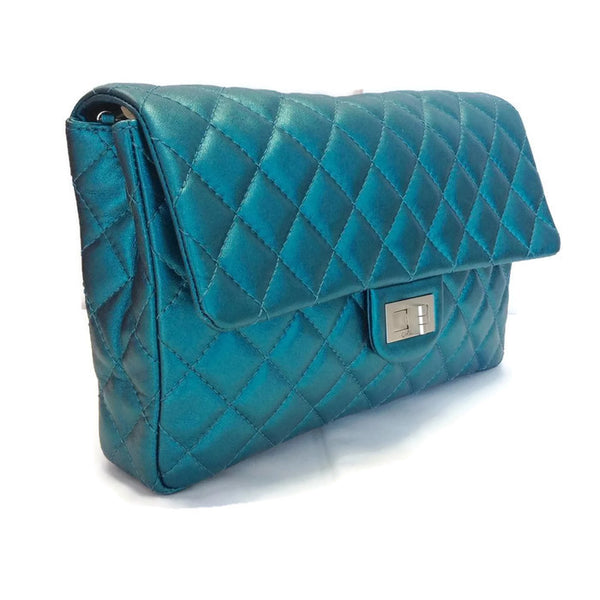 Limited Edition Turquoise Metalic Quilted Shoulder Bag by Chanel front