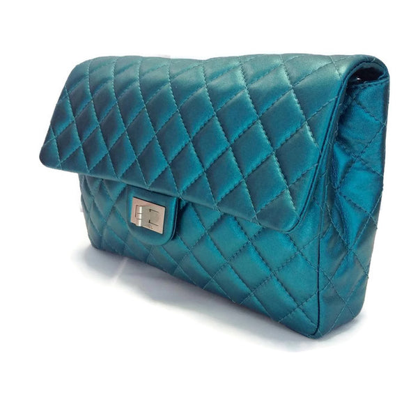 Limited Edition Turquoise Metalic Quilted Shoulder Bag by Chanel side