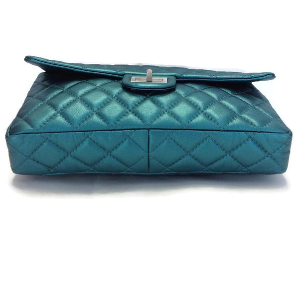 Limited Edition Turquoise Metalic Quilted Shoulder Bag by Chanel bottom