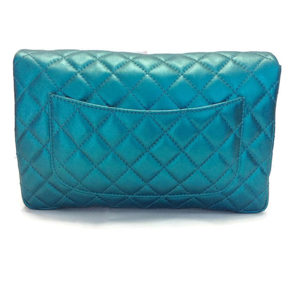 Limited Edition Turquoise Metalic Quilted Shoulder Bag by Chanel back