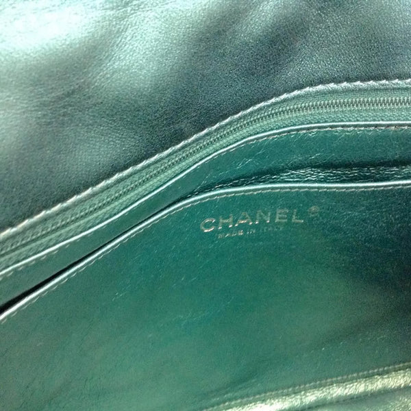 Limited Edition Turquoise Metalic Quilted Shoulder Bag by Chanel interior logo