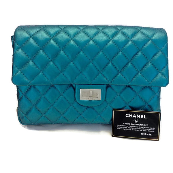 Limited Edition Turquoise Metalic Quilted Shoulder Bag by Chanel with coa