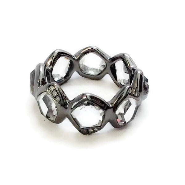 Blackened Sterling Stack Ring with Quartz by Ippolita