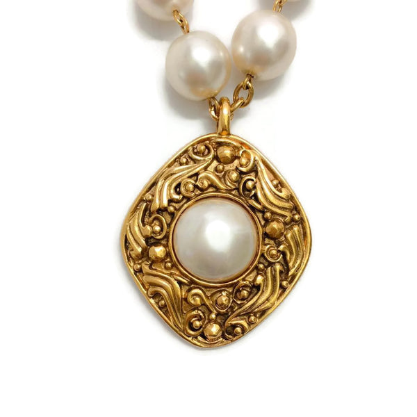 Vintage Pearl Necklace with Gold Drop by Chanel front