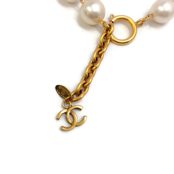 Vintage Pearl Necklace with Gold Drop by Chanel charm