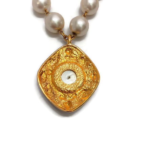 Vintage Pearl Necklace with Gold Drop by Chanel back