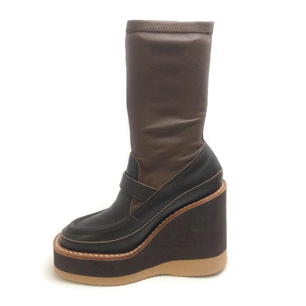Loafer Wedge Ankle Brown Boots by Sacai inside