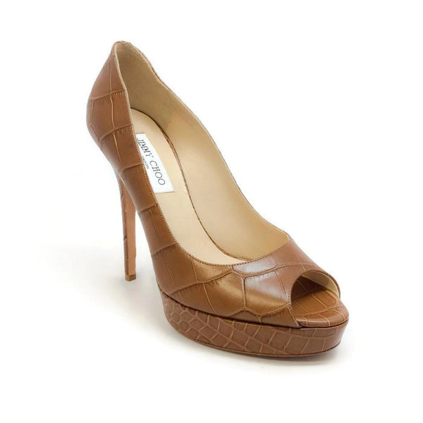 Crown Croc Embossed Tan Pumps by Jimmy Choo