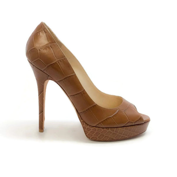 Crown Croc Embossed Tan Pumps by Jimmy Choo exterior