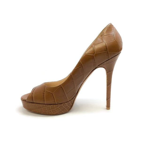Crown Croc Embossed Tan Pumps by Jimmy Choo interior