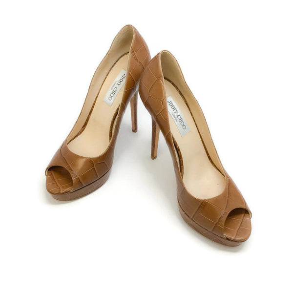 Crown Croc Embossed Tan Pumps by Jimmy Choo pair