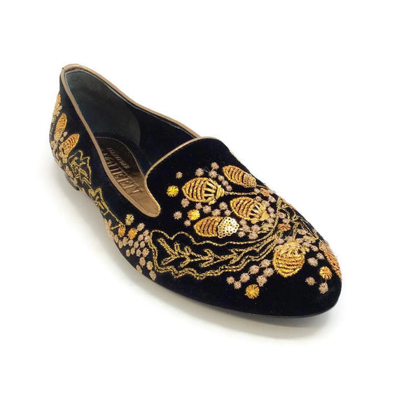 Embroidered Velvet Acorn Smoking Slipper Flats by Alexander McQueen front