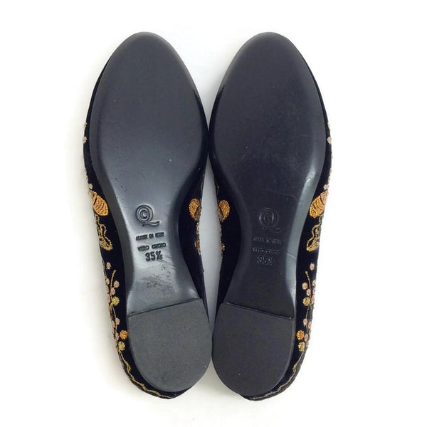 Embroidered Velvet Acorn Smoking Slipper Flats by Alexander McQueen sole