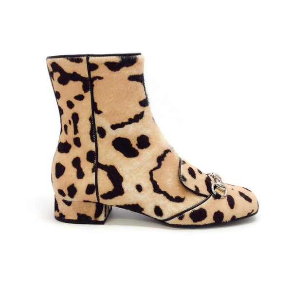 Lillian Horsebit Pony Leopard Booties by Gucci exterior