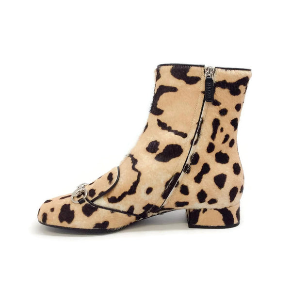 Lillian Horsebit Pony Leopard Booties by Gucci interior