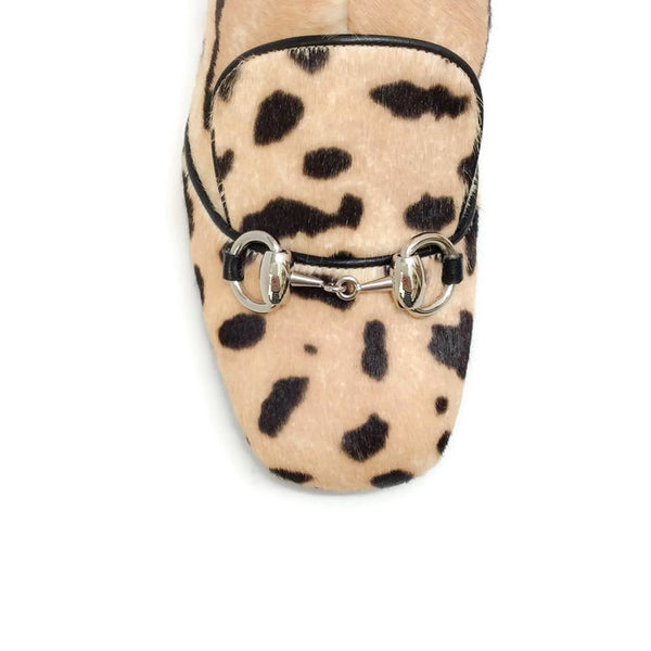 Lillian Horsebit Pony Leopard Booties by Gucci toe