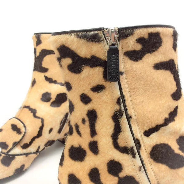 Lillian Horsebit Pony Leopard Booties by Gucci