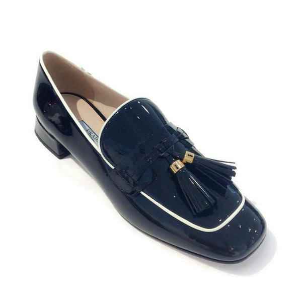 Black Tassel Loafer Flats by Prada