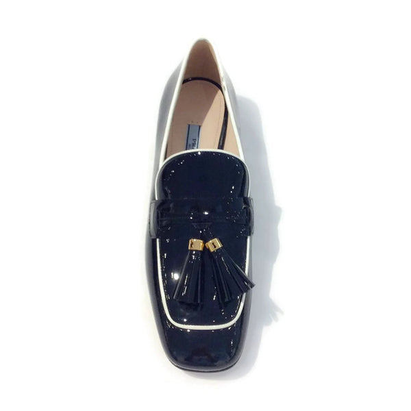 Black Tassel Loafer Flats by Prada top