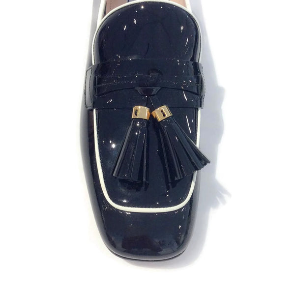 Black Tassel Loafer Flats by Prada toe