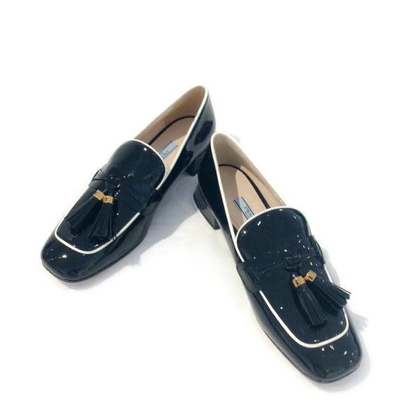 Black Tassel Loafer Flats by Prada pair