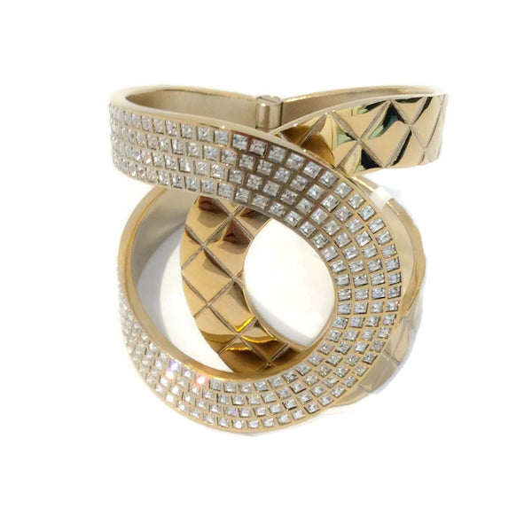 Gold Tone and Crystal Interlocking CC Hinge Bracelet by Chanel
